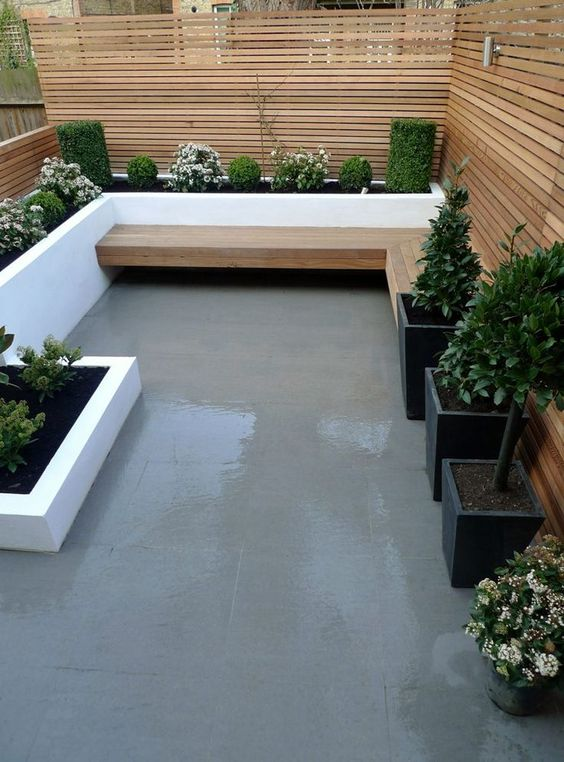 even if your outdoor space is small, thin plank screens can be a nice idea to cover it up