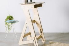 15 a small modern stand desk of high quality wood is a chic idea for a tiny space and looks stylish