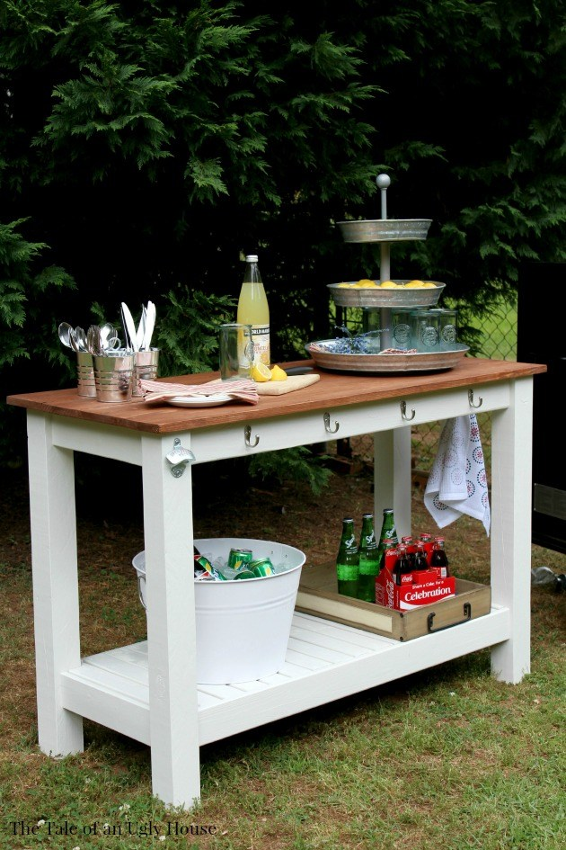 make a gorgeous outdoor buffet in rustic style using Lerhamn table from Ikea