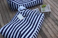 15 striped bean bag chairs to use them as loungers – so cool for a beach or coastal terrace or balcony