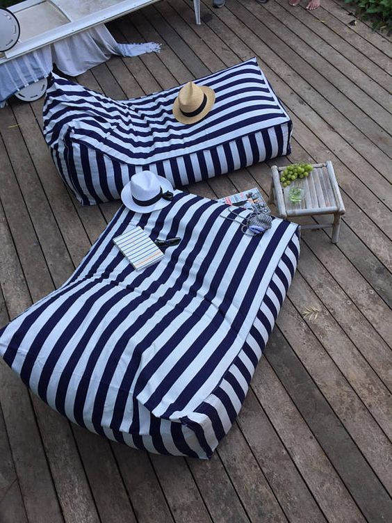 striped bean bag chairs to use them as loungers - so cool for a beach or coastal terrace or balcony