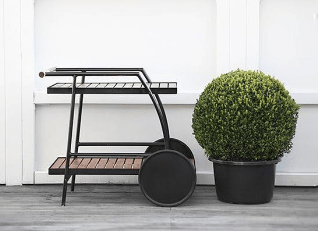 IKEA Vindalso cart turned sleek black with spray paint for serving drinks or food at parties