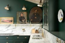 16 a dark grene kitchen with marble-style granite countertops that refresh the look