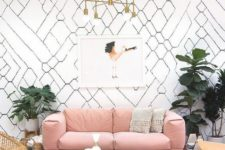 16 a mid-century modern living room with a dusty rose sofa for a soft colorful touch