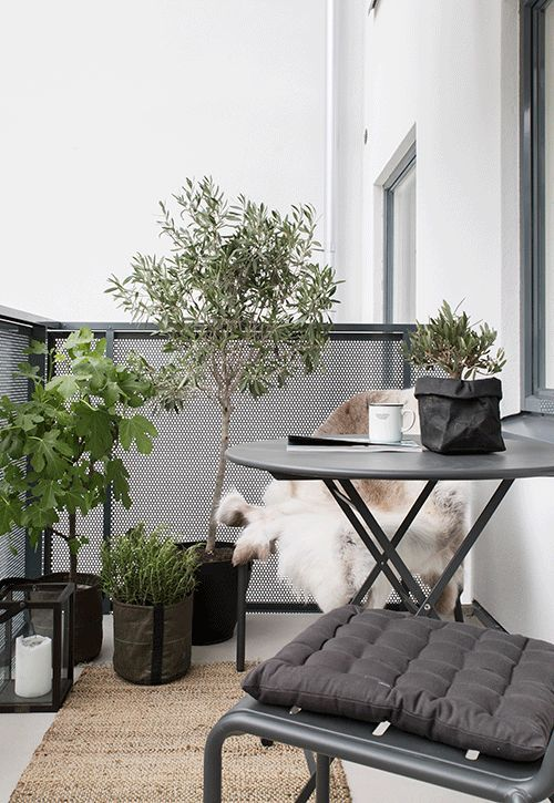 a dark metal folding furniture set, potted greenery and flowers, candle lanterns for a Scandinavian feel