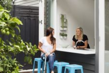 17 attach an outdoor bar counter nd place some bright blue chairs and voila – an outdoor bar is ready
