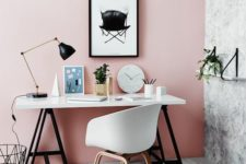 rose wall for a retro working area look