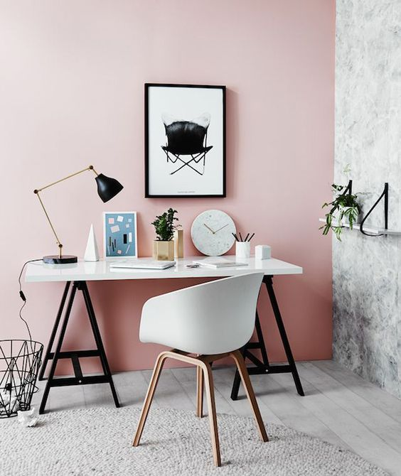 soften your industrial orminimalist space with a dusty rose statement wall