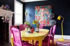 18 a dark space with several bright accents in magenta and bold yellow for a contrasting look