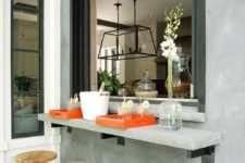 18 attach a concrete windowsill outdoors and use the kitchen window to serve drinks