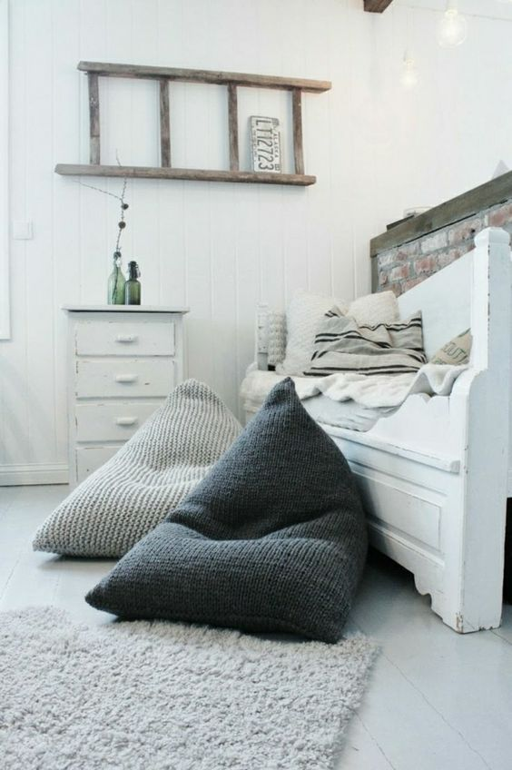 get a couple of comfy bean bag chairs for a guest bedroom to make it more welcoming