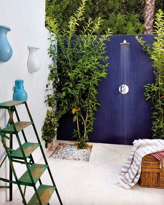 a gorgeous modern concrete shower with a navy wall and creamy floor plus living plants