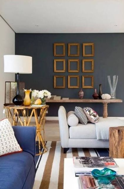a symmetrical empty frame arrangement spruces up the chalkboard wall