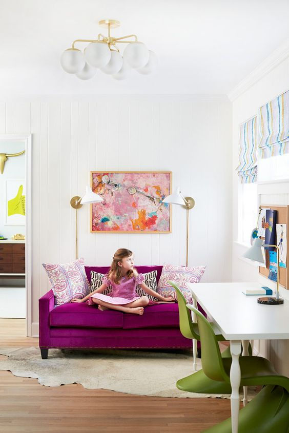 highlight a girl's space with magenta and bright green touches for a cheerful feel