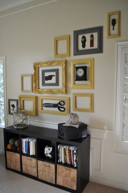 a creative mix of artworks, accessories and empty frames will add interest to any space