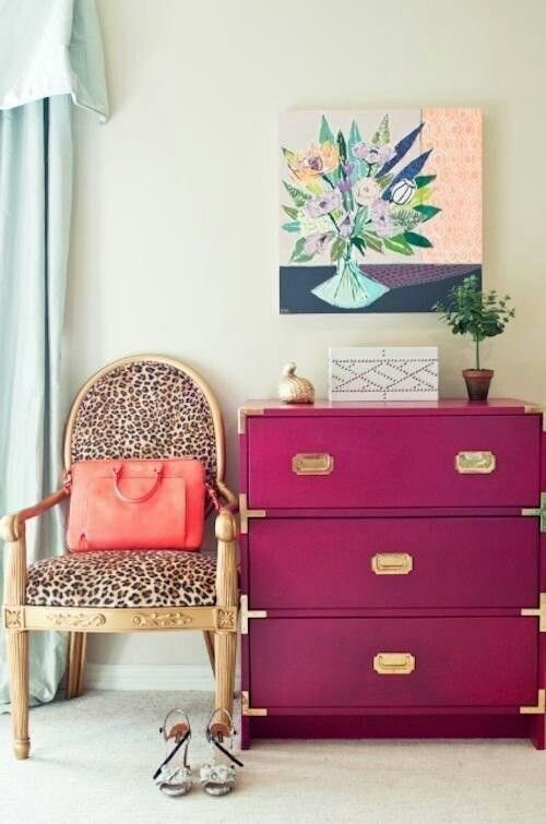 add more glam to your space with leopard print and a magenta item with gilded touches