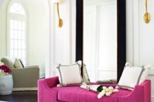 21 a very elegant entryway with a bright magenta bench, which adds cheer and color