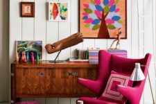 bright ottoman combined with a bright char in a neutral decor