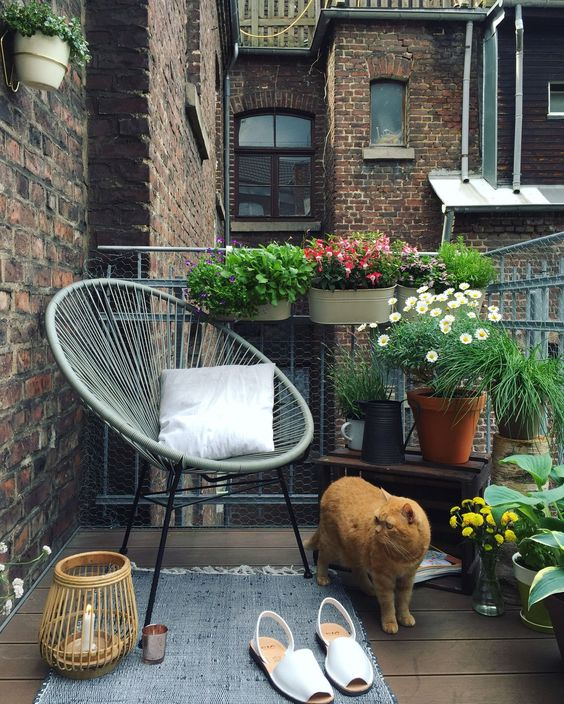 a summer balcony with potted greenery and blooms, a chair, a rug and candles