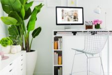 22 such a tall desk allows standing and much storage inside it to make your workign more comfortable