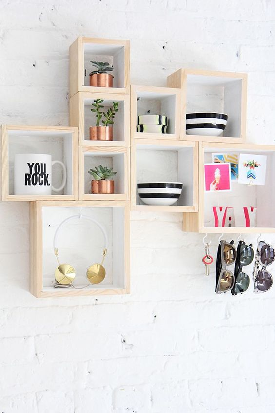 a combo of small box shelves features enough storage and can fit any space