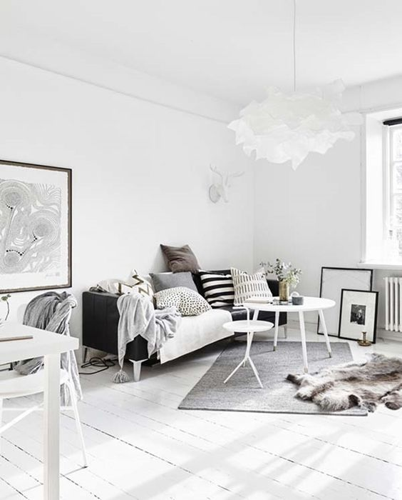 a Scandinavian room with enough negative space looks very airy and light-filled