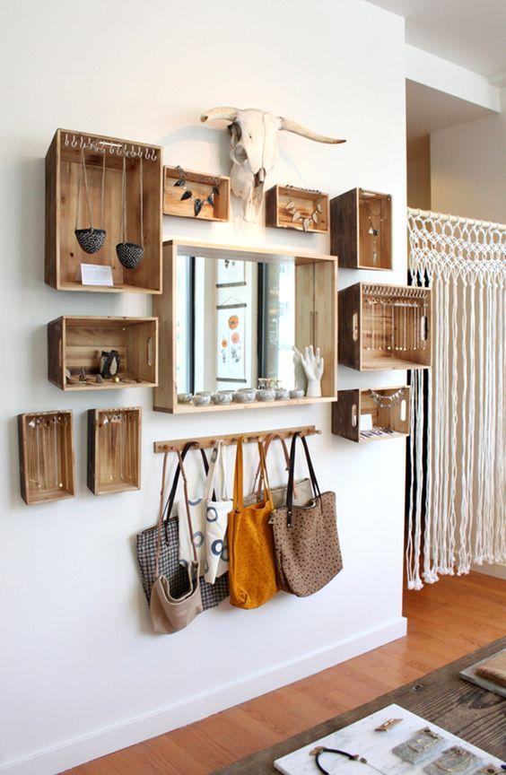 create a combo of crates to store your accessories in the entryway or ccloset