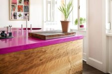 26 add a magenta countertop to your usual kitchen island and spruce it up with a cool color