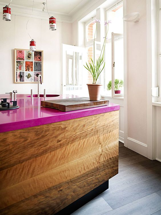 add a magenta countertop to your usual kitchen island and spruce it up with a cool color