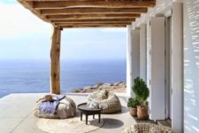 26 super cool straw bean bag chairs and floor pillows to create a chic Mediterrnean lounge outdoors