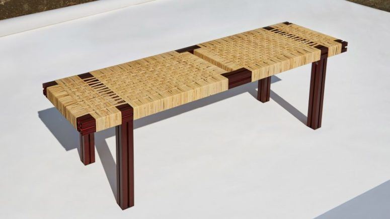 modern wicker bench