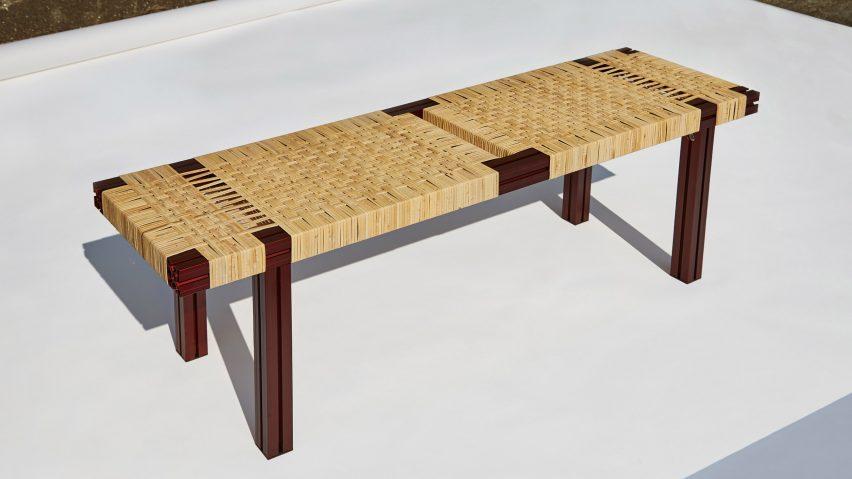 modern wicker bench