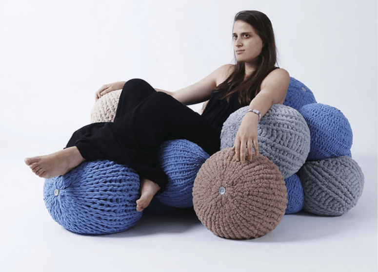 Bubbles is a seating system inspired by colorful yarn balls and can be fully customized
