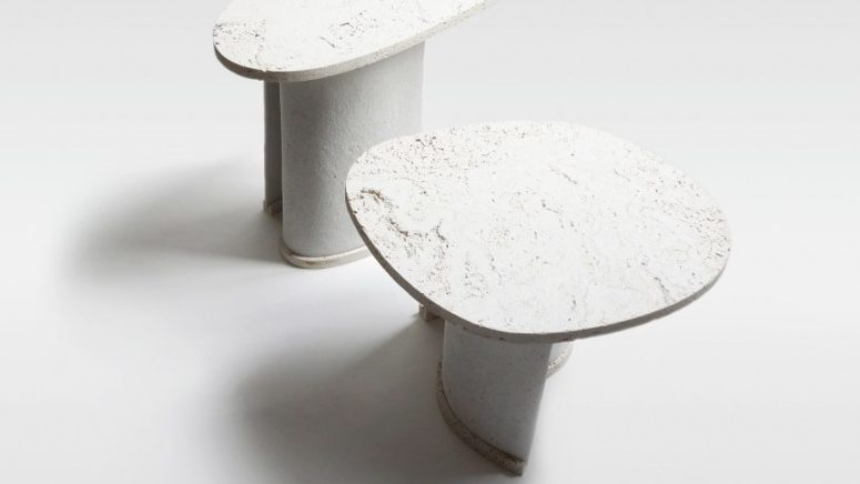 Chaud side tables are a duo made of a unique material created right for this project