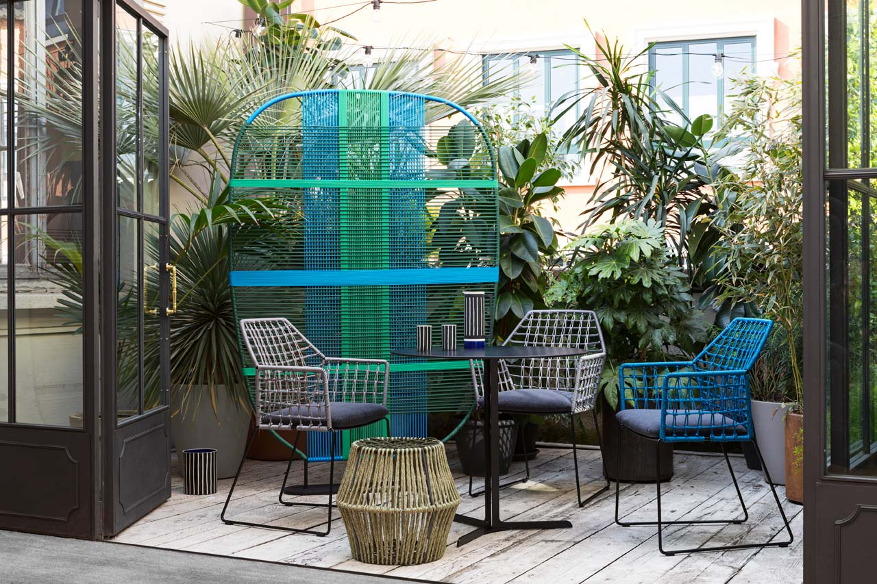 New York Soleil and the Shades of Venice are two colorful woven furniture collections for outdoors