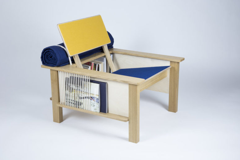 Pack Horse chair is a super functional piece with lots of storage plus very comfy for sitting