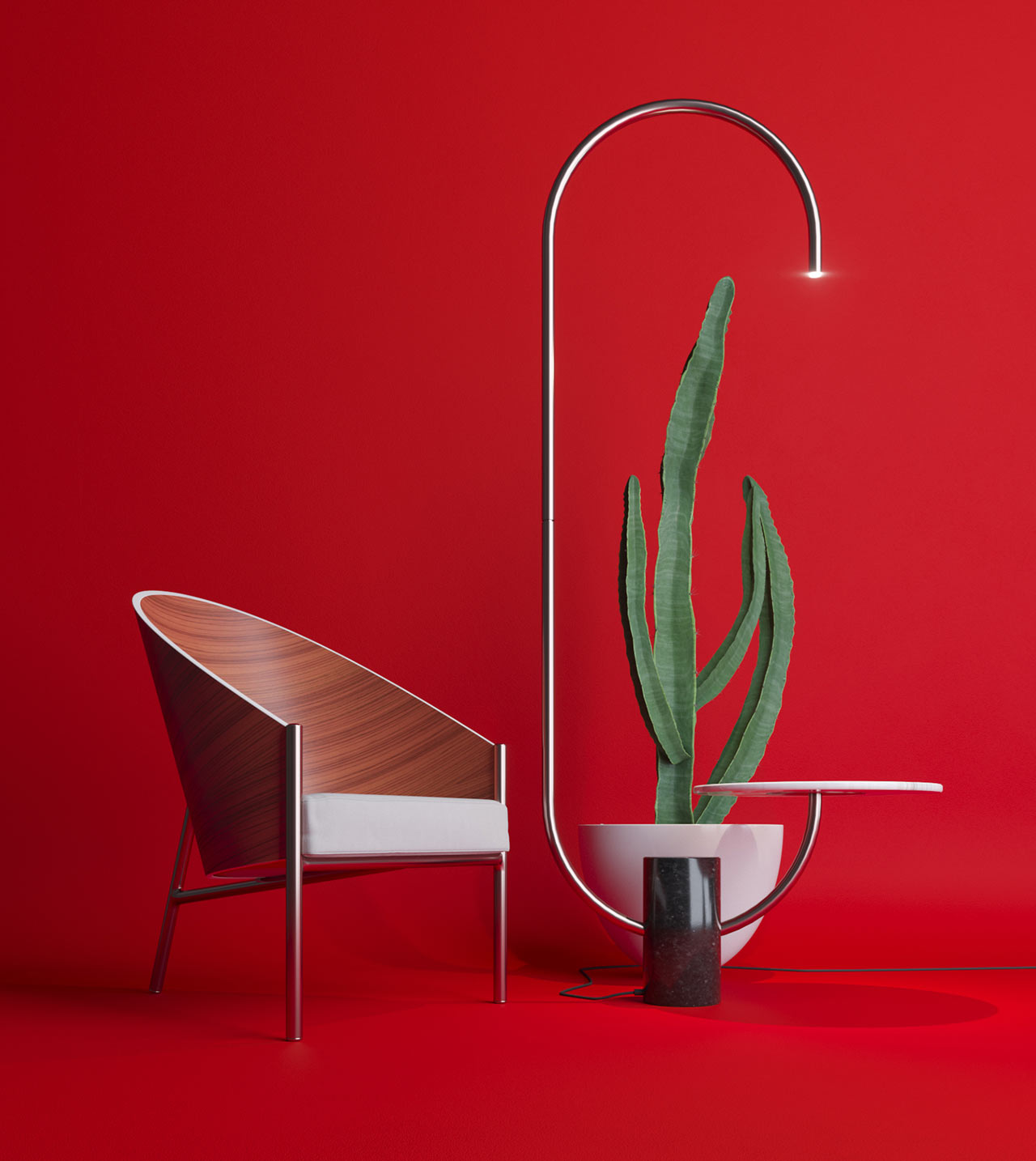 This bold and modern piece is Bijou, a unqieu combination of a floor lamp and table, a super functional piece