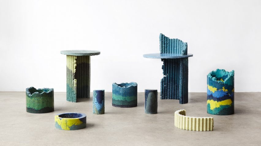 This industrial colorful furniture is made of polyurethane foam wastes, which is a great way to recycle
