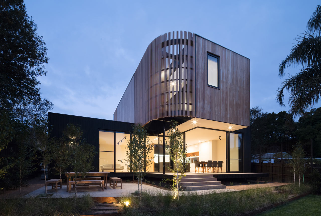 This modern two storey extension was created for a weatherboard house in Melbourne