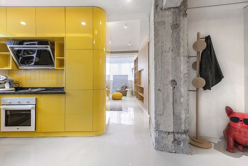 This ultra modern apartment is organized with functional boxes, each with a different function