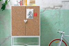 01 This whimsy mini furniture collection is inspired by notebooks and back to school time and are covered with cork