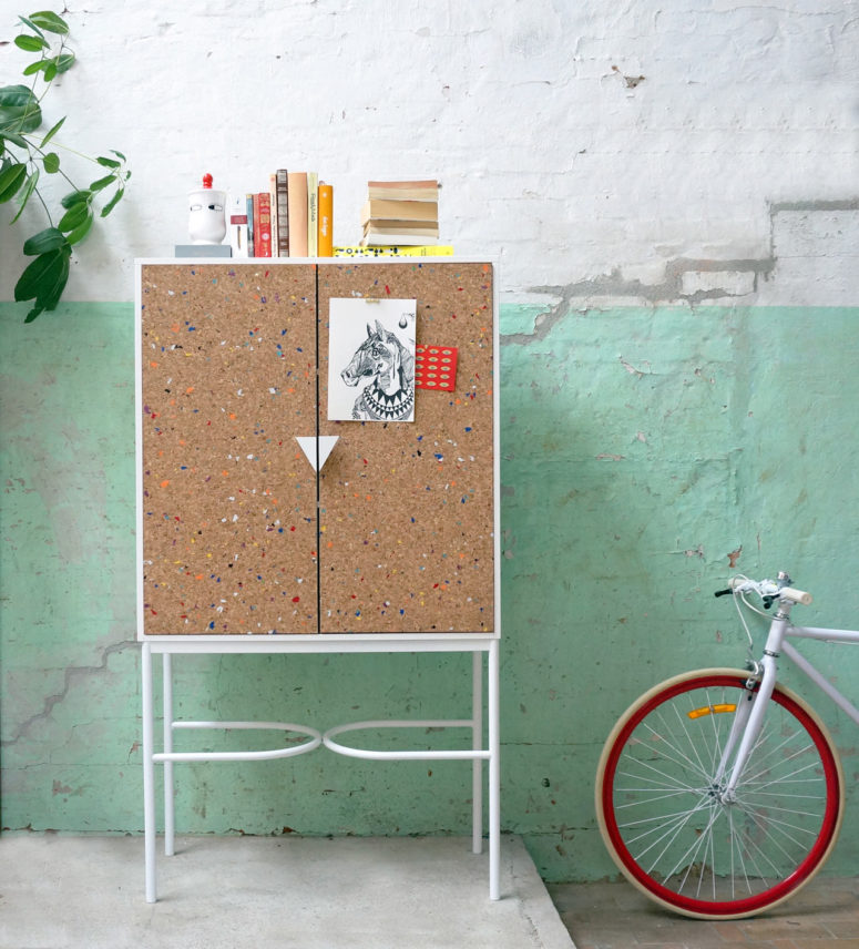 This whimsy mini furniture collection is inspired by notebooks and back to school time and are covered with cork
