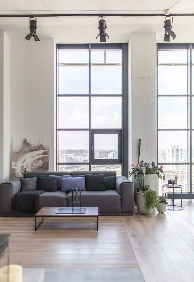 Large windows bring much light in and allow amazing views of the city