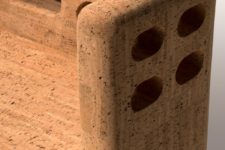 02 The amrchair is made of only cork, it shows off the texture and there are some holes as part of the design