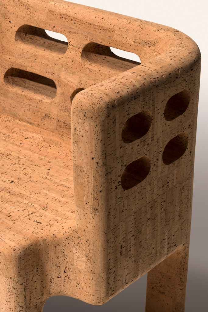 The amrchair is made of only cork, it shows off the texture and there are some holes as part of the design