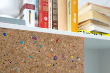 02 The cork panels are spruced up with colorful flecks to make your space more fun