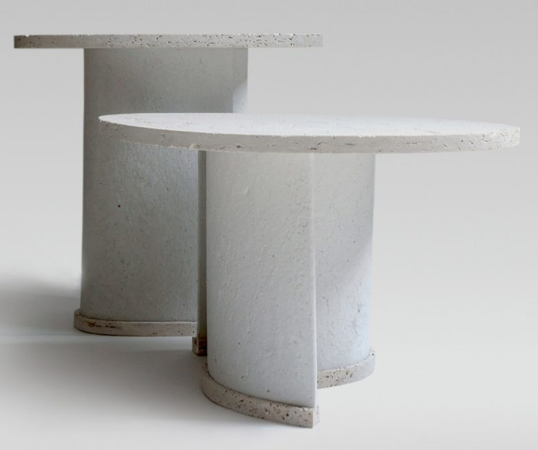The tables are made of stone and chaud, which includes recycled paper