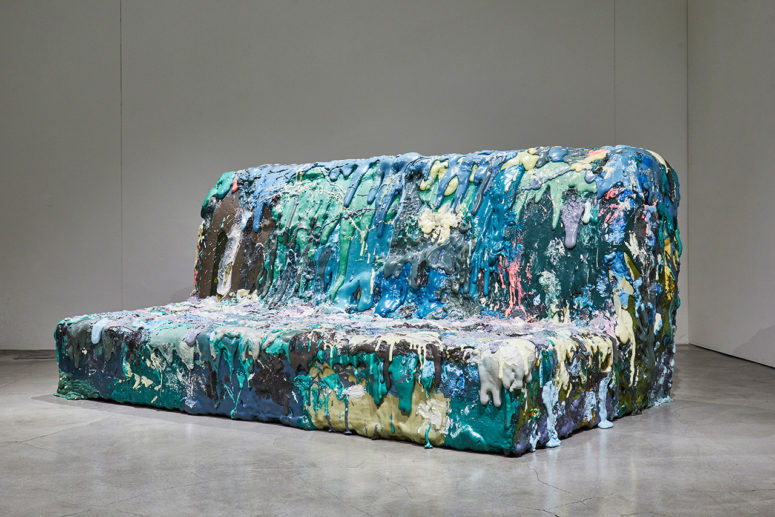 This is a colorful foam sofa for four people