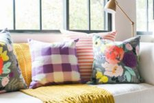 02  choose bright and printed pillows to elevate your plain room to a new level