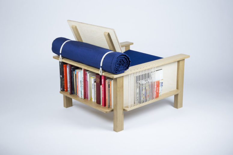 Each side of the chair features storage compartments, open or covered ones